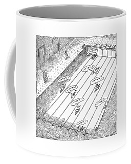 People Crawl Along The Bottom Of An Empty Coffee Mug