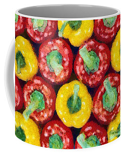 Coffee Mug featuring the painting Peppers by George Atsametakis