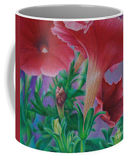 Coffee Mug featuring the painting Petunia Skies by Pamela Clements