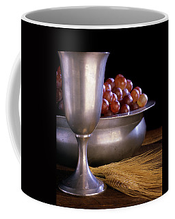 Pewter Chalice Grapes Wheat Communion Coffee Mug