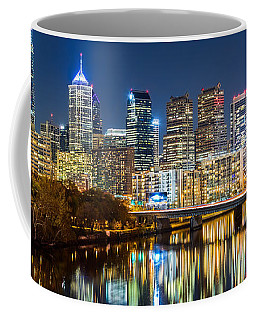 Philadelphia Cityscape Panorama By Night Coffee Mug by Mihai Andritoiu