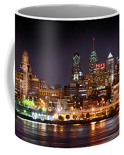 Philadelphia Philly Skyline At Night From East Color Coffee Mug