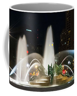 Coffee Mug featuring the photograph Philadelphia - Swann Fountain - Night by Bill Cannon