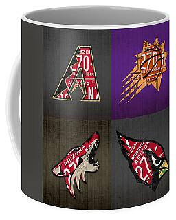 Phoenix Sports Fan Recycled Vintage Arizona License Plate Art Diamondbacks Suns Coyotes Cardinals Coffee Mug