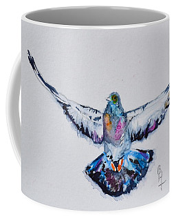 Pigeon In Flight Coffee Mug by Beverley Harper Tinsley