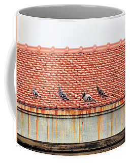 Coffee Mug featuring the photograph Pigeons On Roof by Aaron Martens