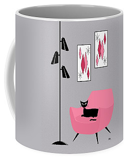 Coffee Mug featuring the digital art Pink 2 On Gray by Donna Mibus