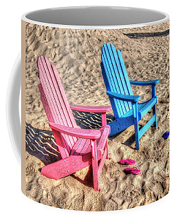 Pink And Blue Beach Chairs With Matching Flip Flops Coffee Mug