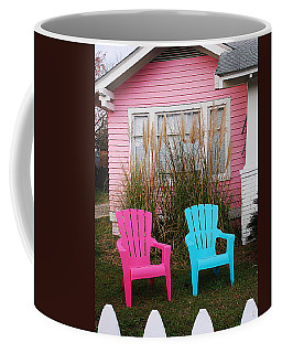 Pink And Blue Chairs By Jan Marvin Coffee Mug