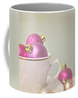 Pink And Gold Christmas Baubles In China Cup. Coffee Mug