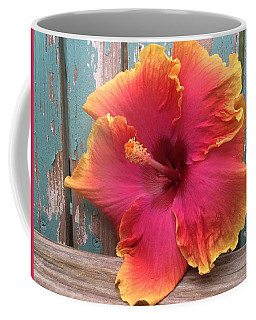Tropical Pink And Yellow Hibiscus  Coffee Mug