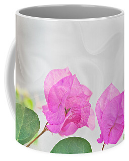 Pink Bougainvillea Flowers On White Silk Art Prints Coffee Mug