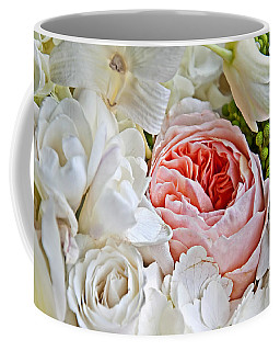 Pink English Rose Among White Roses Art Prints Coffee Mug by Valerie Garner