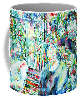 Pink Floyd At The Park Watercolor Portrait Coffee Mug