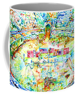 Pink Floyd Live At Pompeii Watercolor Painting Coffee Mug