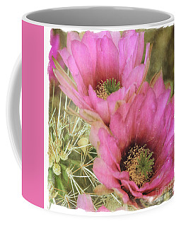 Pink Hedgehog Cactus Flower Coffee Mug by Tamara Becker