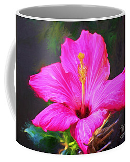 Pink Hibiscus Digital Painting In Oil Coffee Mug