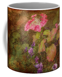 Pink Hydrangea And Purple Pansies Coffee Mug