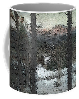 Coffee Mug featuring the painting Snow - Pink Mountain - Blueridge Mountains by Jan Dappen