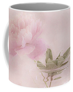 Pink Peony Blossom In Clear Glass Tea Pot Coffee Mug