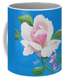 Coffee Mug featuring the painting Pink Rose In Paint by Phyllis Kaltenbach