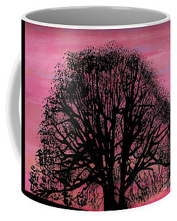 Coffee Mug featuring the drawing Pink Sunset Tree by D Hackett