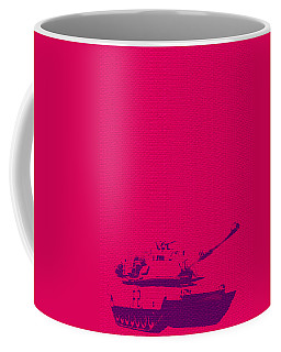 Coffee Mug featuring the mixed media Pink Tank by Michelle Dallocchio