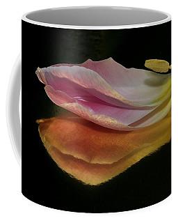 Pink Tulip Petal Reflected On Black Coffee Mug