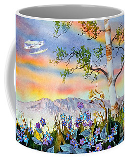 Coffee Mug featuring the painting Piper Cub Over Sleeping Lady by Teresa Ascone