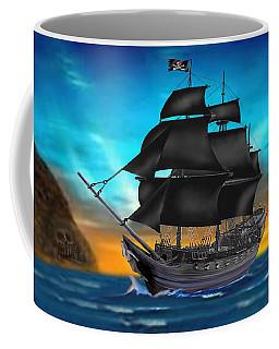 Pirate Ship At Sunset Coffee Mug