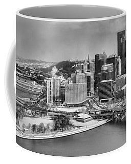 Pittsburgh Black And White Winter Panorama Coffee Mug