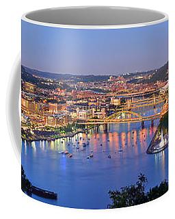 Pittsburgh Pennsylvania Skyline At Dusk Sunset Extra Wide Panorama Coffee Mug