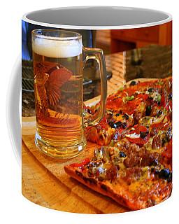 Pizza And Beer Coffee Mug by Kay Novy