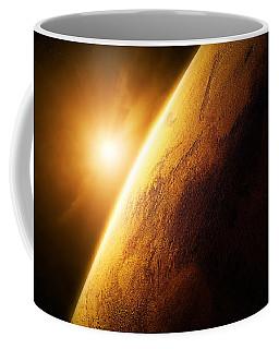 Planet Mars Close-up With Sunrise Coffee Mug