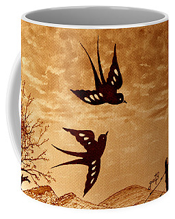 Coffee Mug featuring the painting Playful Swallows Original Coffee Painting by Georgeta  Blanaru
