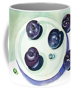 Coffee Mug featuring the painting Plums by Katherine Miller