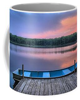 Poconos Lake Whitney Sunset Rowboat Coffee Mug