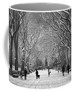 Coffee Mug featuring the photograph New York City - Poets Walk Winter by Dave Beckerman