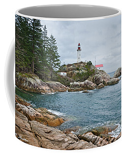 Point Atkinson Lighthouse And Rocky Shore Coffee Mug by Jeff Goulden