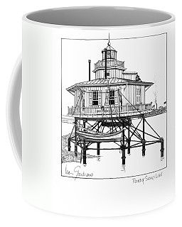Coffee Mug featuring the drawing Point Of Shoals Lighthouse by Ira Shander