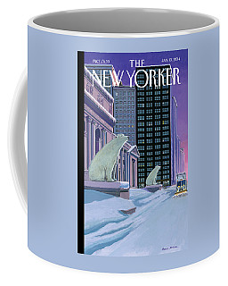 Polar Bears Sit Outside The New York Public Coffee Mug