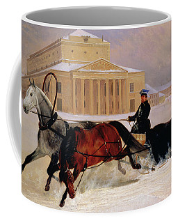 Pole Pair With A Trace Horse At The Bolshoi Theatre In Moscow Coffee Mug