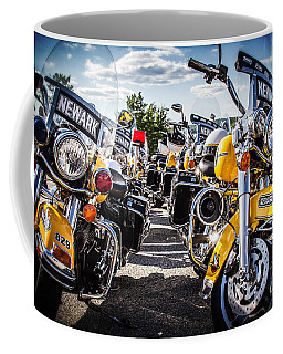 Coffee Mug featuring the photograph Police Motorcycle Lineup by Eleanor Abramson