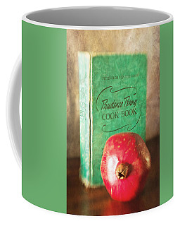Pomegranate And Vintage Cook Book Still Life Coffee Mug