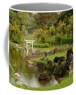 Pond Rocks Grass And Japanese Arch Singapore Coffee Mug