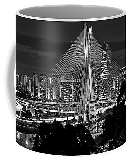 Sao Paulo - Ponte Octavio Frias De Oliveira By Night In Black And White Coffee Mug