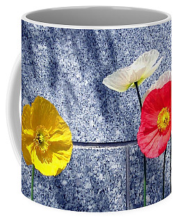 Coffee Mug featuring the digital art Poppies And Granite by Will Borden