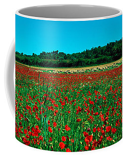 Poppies And Sheep In A Field Coffee Mug