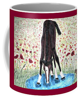 Coffee Mug featuring the painting Poppies N  Puddles by Angela Davies