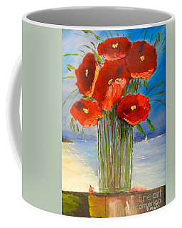 Coffee Mug featuring the painting Poppies On The Window Ledge by Pamela  Meredith